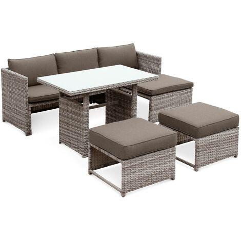 Salon de jardin Reggiano en résine tressée arrondie grise 6 places, table avec canapé, méridienne et 2 poufs encastrables
