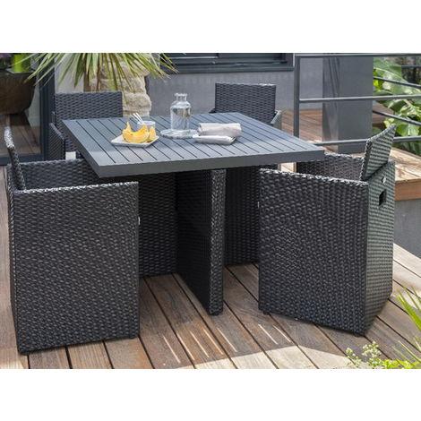 Salon de jardin résine table 4 fauteuils Noir