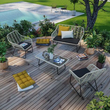 Salon de jardin résine tressée rotin métal naturel noir - ensemble 4 places - BELEM - Beige