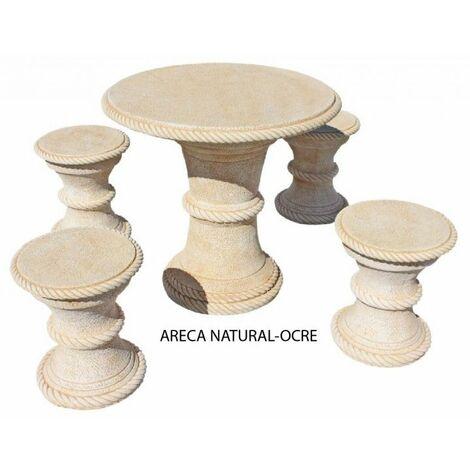 "main image of ""TABLE DE JARDIN RONDE EXTÉRIEURE EN BÉTON-PIERRE AZALEA 120cm. Lune jaune, pierre ocre"""