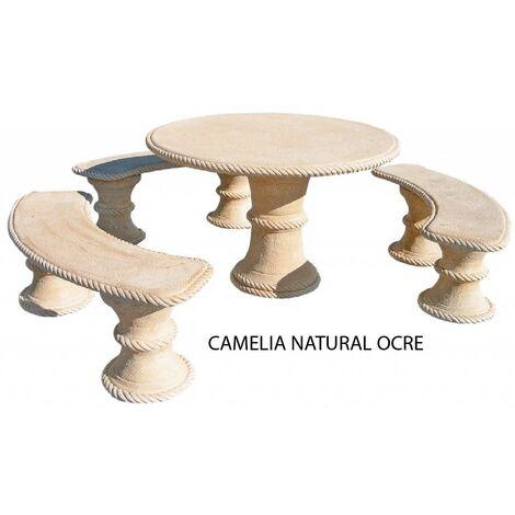 """main image of """"TABLE DE JARDIN RONDE EXTÉRIEURE EN BÉTON-PIERRE CAMELIA 120X74cm. Naturel, couleur ocre. Avec dossier."""""""
