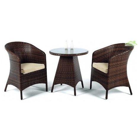 Salon de jardin ronde avec table + 2 fauteuils FLANDES HEVEA