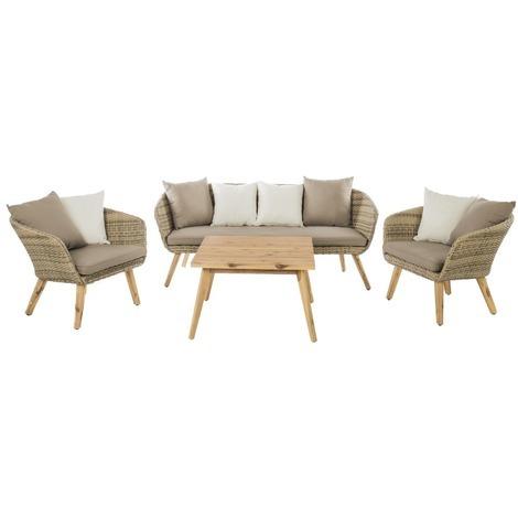 Salon de jardin rotin et acacia - Marilyn - Beige - 82568