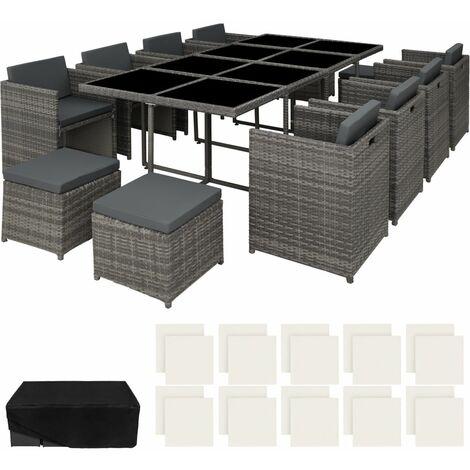 Salon de jardin rotin résine tressé synthétique 12 places avec 2 sets de housses + housse de protection gris - Gris