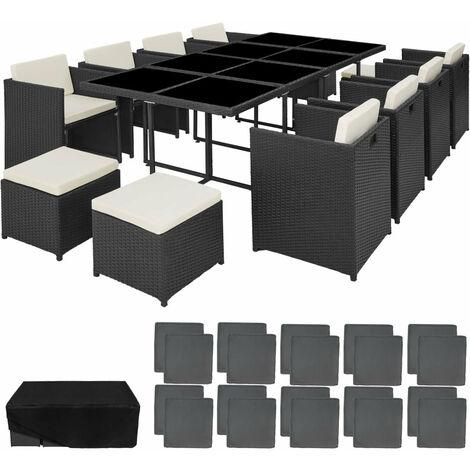 Salon de jardin rotin résine tressé synthétique 12 places avec 2 sets de housses + housse de protection noir - Noir