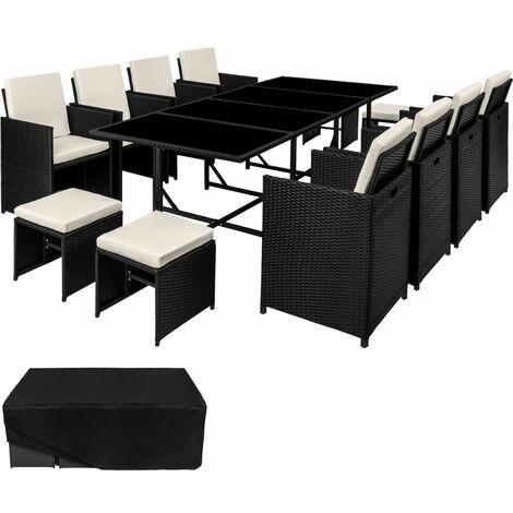 Salon de jardin rotin résine tressé synthétique 12 places avec housse de protection noir - Noir