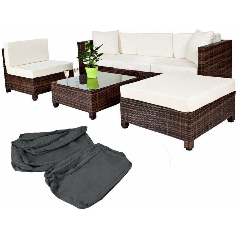 Salon de jardin rotin résine tressé synthétique marron + coussins + 2 sets  de housses