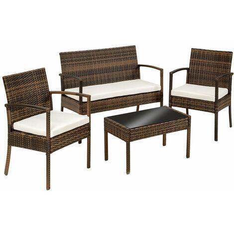 salon de jardin rotin r sine tress synth tique marron. Black Bedroom Furniture Sets. Home Design Ideas