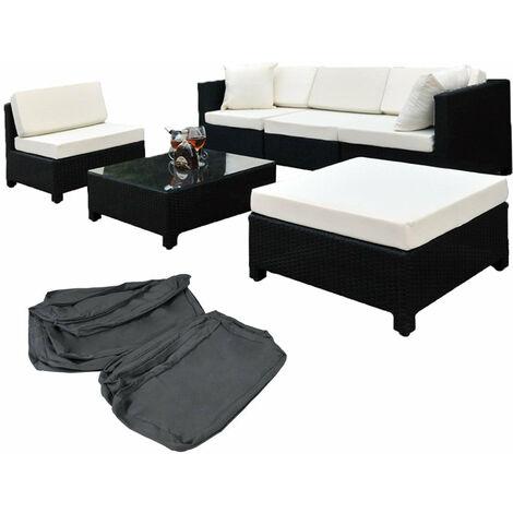 salon de jardin rotin r sine tress synth tique noir. Black Bedroom Furniture Sets. Home Design Ideas