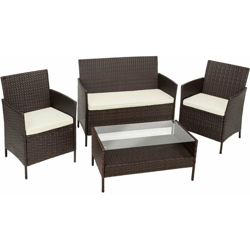Salon de jardin rotin résine tressé synthétique 2 chaises fauteuils 1 banc 1 table marron - Marron