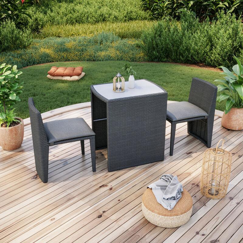 Salon de jardin résine tressée balcon encastrable noir et gris- ensemble 2 places - LIA - Noir