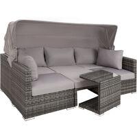 Salon de jardin SAN MARINO 6 Places - Modulable avec Auvent rabattable - en  Résine tressée et Aluminium Gris