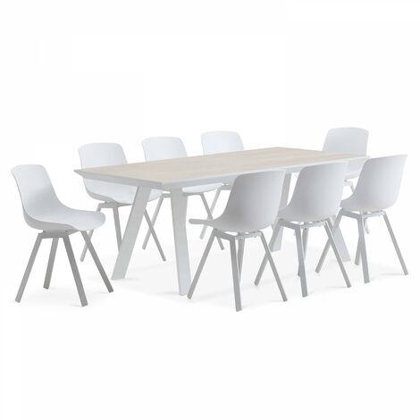 Salon de jardin scandinave, 1 table plateau céramique, 8 chaises ...