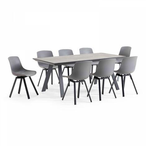 Salon de jardin scandinave, 1 table plateau céramique, 8 chaises