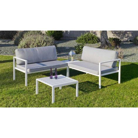 Salon de jardin - Set andgelina cc2 en aluminium blanc coussins couleur  gris clair
