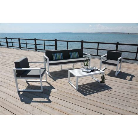 Salon de jardin - Set andreana 8 en aluminium blanc coussins couleur gris  fonce