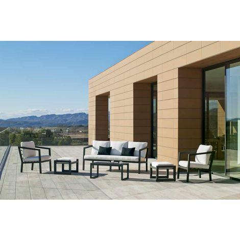 Salon de jardin - Set aurana 8+2 en aluminium anthracite coussins couleur  blanc