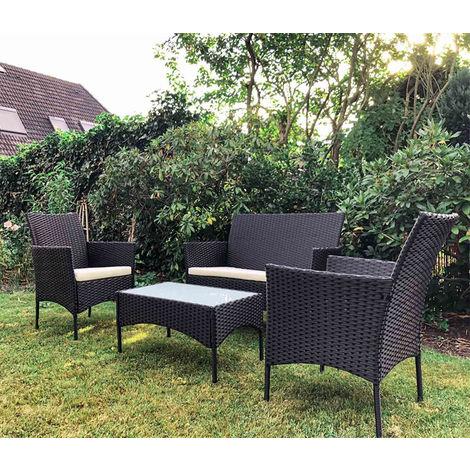 Salon de Jardin Set de Jardin 2 Fauteuils 1 Canapé et 1 Table Basse ...