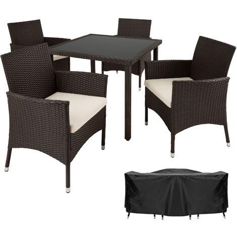 Salon de jardin SEVILLA - 4 Chaises et 1 Table en Résine Tressée ...