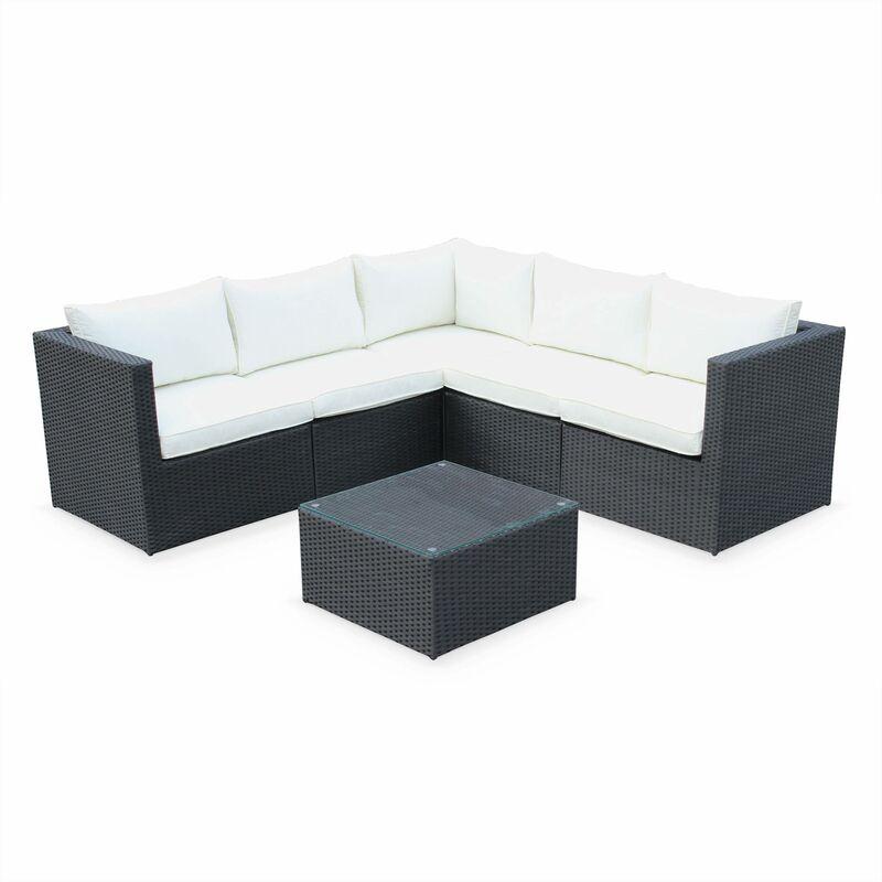 Salon de jardin 5 places résine tressée - Siena - Structure aluminium Noir / Ecru
