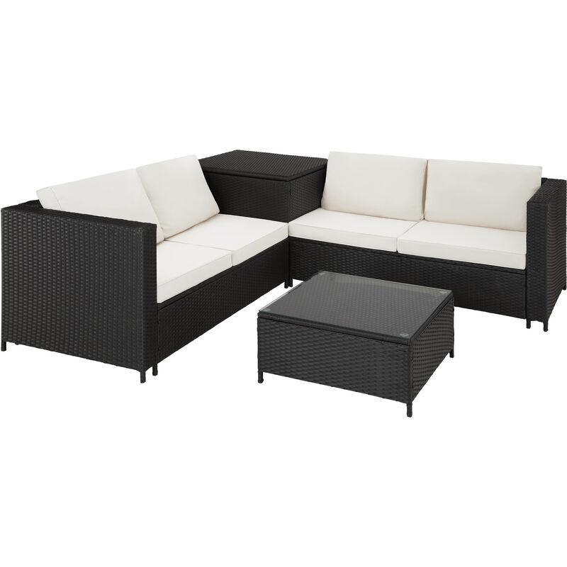 Salon De Jardin SIENNE 4 Places Avec 2 Canapés Modulables + 1 Table Basse  En Résine Tressée + Coffre Noir   403071