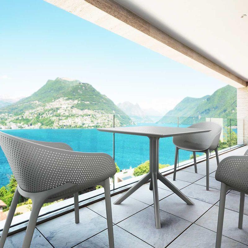 Salon de jardin en polypropylène gris SKY Siesta - 4 fauteuils