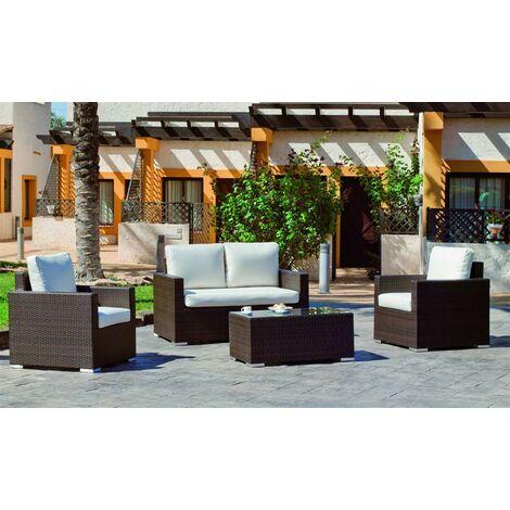 Salon De Jardin Sofa LISBO en ACIER Résine tressée marron Coussins couleur BLANC ANAIS