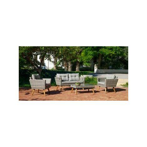 Salon De Jardin Sofa MERID en ACIER Résine tressée beige grise Coussins couleur GRIS MARILAND