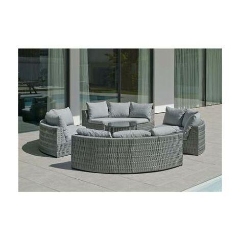 """main image of """"Salon de jardin Sofa NAROHA-8 Finition GRIS Tissus GRIS CLAIR MARILAN DRALON de 4 à 12 places"""""""