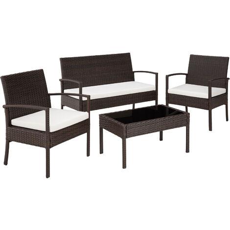 Salon de jardin SPARTE - 2 Fauteuils, 1 Canapé, 1 Table en ...