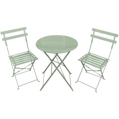 Salon de jardin style bistro - table/2 chaises - métal ...