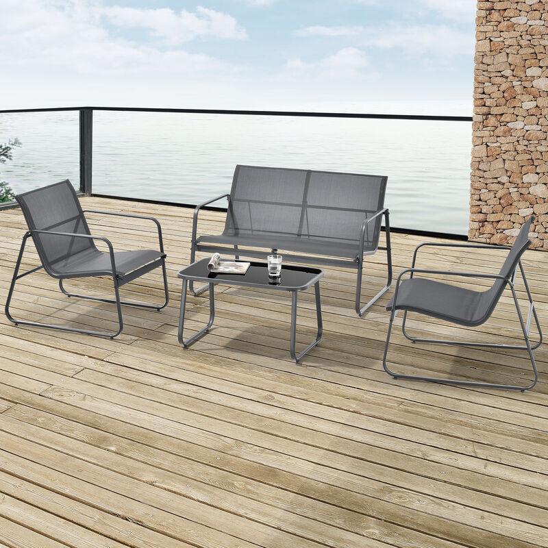 Salon de Jardin Stylé Table Basse Plateau en Verre Canapé Fauteuils Ensemble de 4 Meubles Extérieurs pour 4 Personnes Acier PVC Polyester Noir Gris