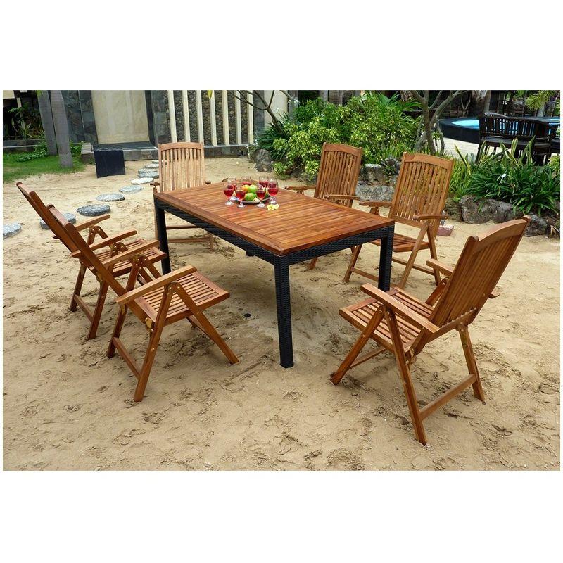 salon de jardin table 150 cm et 6 fauteuils confort inclinable multi  positions