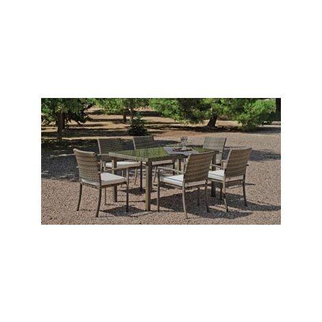 Salon De Jardin Table A Manger ABASA 150 en ACIER Résine tressée beige Coussins couleur ANAIS BLANC