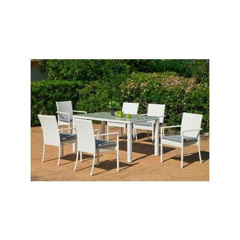 Salon De Jardin Table A Manger ASTOR 150 en ALUMINIUM Résine tressée blanche Coussins couleur GRIS MARILAND