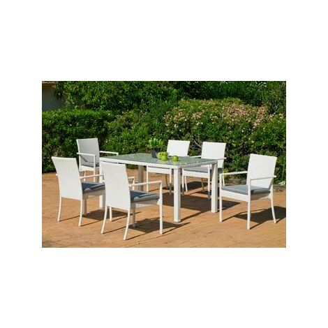 Salon De Jardin Table A Manger ASTOR 180 en ALUMINIUM Résine tressée blanche Coussins couleur GRIS MARILAND
