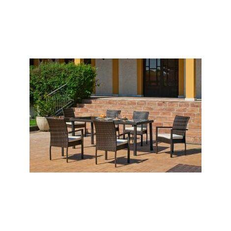 Salon De Jardin Table A Manger BAHIA 180 en ACIER Résine tressée marron Coussins couleur ANAIS BLANC