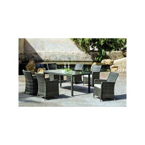 Salon De Jardin Table A Manger SAMBA 180 en ACIER et ALU Résine tressée grise Coussins couleur ALBA ECRU