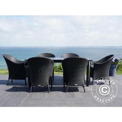Salon de jardin: Table de jardin + 6 chaises de jardin, Noir -
