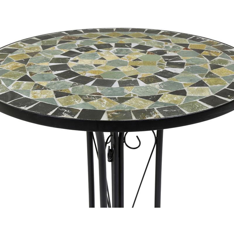 Salon de jardin - table et 2 chaises - mosaïque - fer forgé