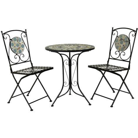 Salon de jardin - table et 2 chaises - mosaïque - fer forgé ...