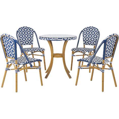 Salon de jardin table et 4 chaises bleu / blanc RIFREDDO