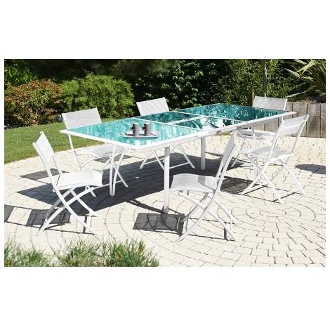 Salon de jardin - Table et 6 chaises blanches