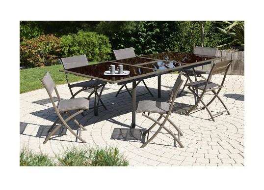 Salon de jardin - Table et 6 chaises cappuccino - T1824-CAPPUCCINO+6CH