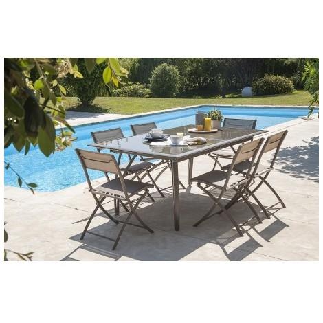 Salon de jardin - Table et 6 chaises cappuccino