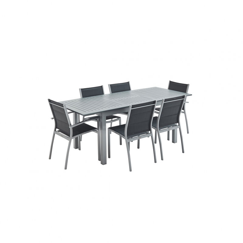Salon Assises Jardin En Avec De 6 Gris Table Aluminium Extensible ...