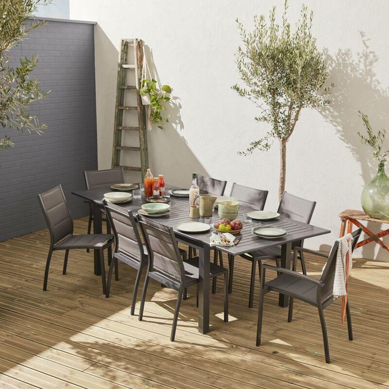 Salon de jardin table extensible - Chicago Anthracite - Table en aluminium  175/245cm avec rallonge et 8 assises en textilène