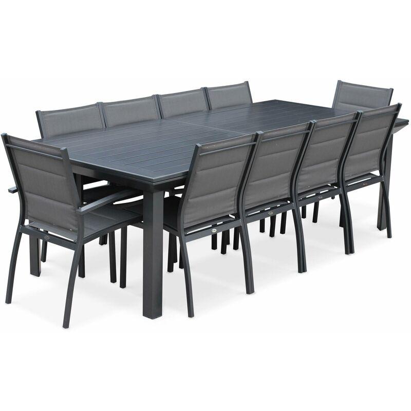 Salon de jardin table extensible - Odenton Anthracite - Grande table en  aluminium 235/335cm et 10 assises en textilène