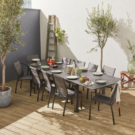Salon de jardin table extensible - Odenton Anthracite - Grande table ...