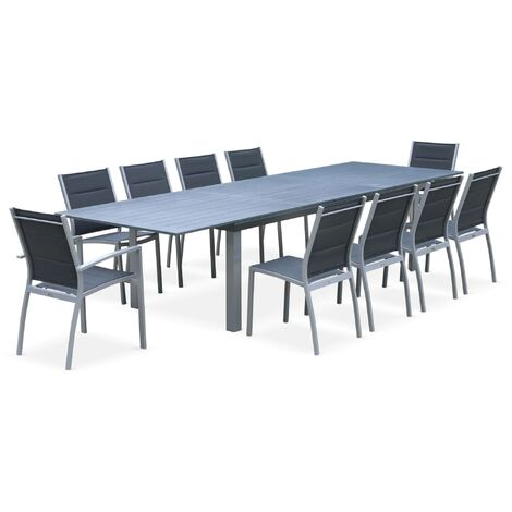 Salon de jardin table extensible - Odenton Gris - Grande table en aluminium 235/335cm et 10 assises en textilène